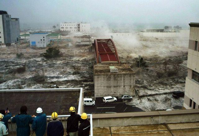 Наводнение от цунами  в Японии