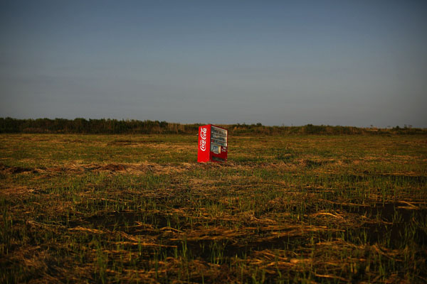 A vending machine, brought inland by a tsunami is seen in a abandoned rice field inside the exclusion zone at the coastal area near Minamisoma in Fukushima prefecture