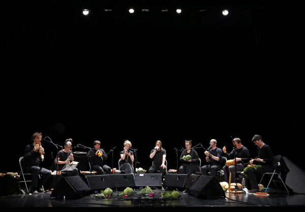 Musicians from the Vegetable Orchestra perform with instruments made from vegetables during a sound check before a concert in Haguenau, eastern France