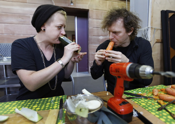 Austrian musicians, who are members of the Vegetable Orchestra, test musical instruments made out of vegetables during the preparations for a concert in Haguenau, eastern France