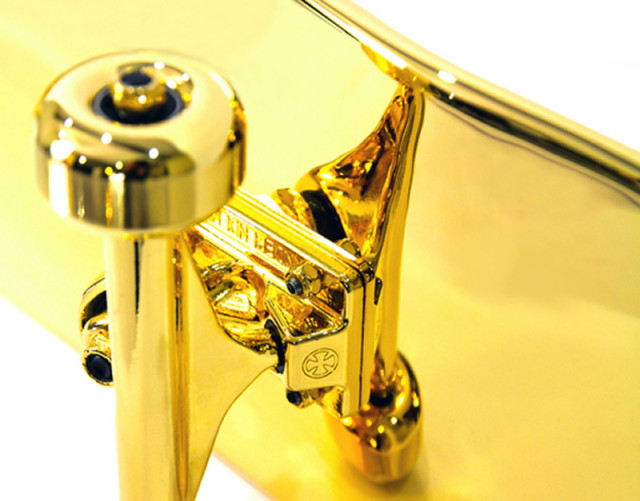 A New York company has launched a gold plated skateboard for $15,000